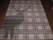 Modern Approx 8x5 160x230cm Woven Backed Quality rugs stag Checked Dark Grey New